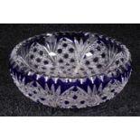 Kristallglas-Schale, Überfang, hochwertige Verarbeitung, Durchmesser 19 cm
