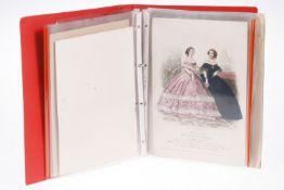 Mappe mit ca. 50 verschiedenen Kunstdrucken aus weiblichem Akt, Mode und Vogelkunde, teilw.