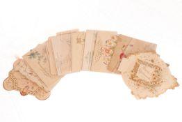 Konv. 15 Glückwunschkarten, meist um 1900, meist polychromer Prägedruck, tw Stanzspitze, leichte