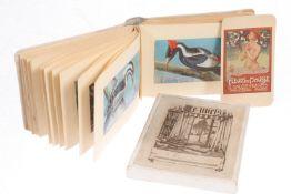 Konv. Papierantiquitäten, 1 kleiner Karton mit 20 Exlibris-Blättern und 1 kleines Bilderalbum mit