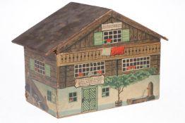 Alpenländisches Holzhaus als Werbedose für Dr. Oetker-Produkte, papierbeklebt, um 1910, Länge 32 cm,