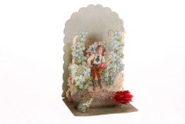 """Faltkarte """"Innigen Glückwunsch"""", um 1900, geprägte Pappe, sehr schönes Kindermotiv, H 13 cm,"""