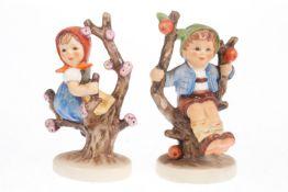 "Hummel Figurenpaar ""Frühling"" und ""Herbst"", Modellnr. 142 3/0 und 143 3/0, H 11 cm"