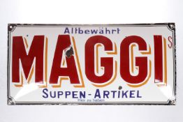"""Werbe-Emailleschild """"Maggie"""", gewölbt, 4 Ecken und im Buchstaben """"A"""" leichte Absplitterungen, 49 x"""