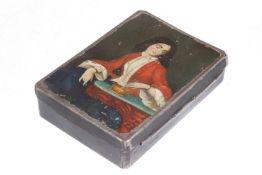 Tabakdose, Weißblech mit Öl-Lackmalerei, um 1820, Länge 10 cm, Gebrauchsspuren, selten