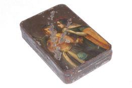 Tabakdose, Weißblech mit Öl-Lackmalerei, um 1820, Länge 10,5 cm, starke Lackschäden, selten
