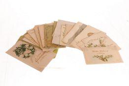 Konv. ca. 20 Glückwunschkarten, um 1900 und später, tw polychromer Prägedruck, leichte Alterungs-