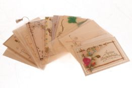 Konv. 15 Glückwunschkarten, um 1900, meist polychromer Prägedruck, leichte Alterungs- und