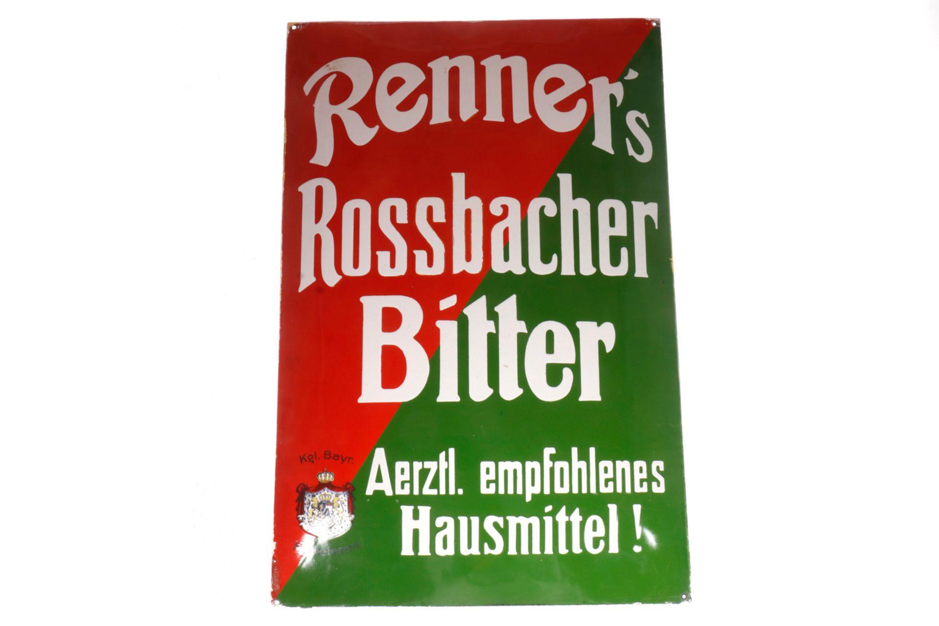 """Emailleschild """"Renner`s Rossbacher Bitter"""", gewölbt, 50 x 75 cm, Z 2"""