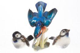 Konv. Hutschenreuther Eisvogel, Goldstempel, Modellnr. 8172, signiert Hans Achtziger, Schnabelspitze