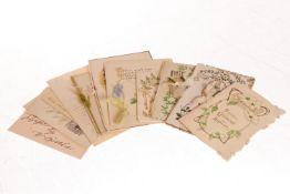 Konv. 10 Glückwunschkarten, meist um 1900/1910, darunter Jugendstil, tw polychromer Prägedruck und