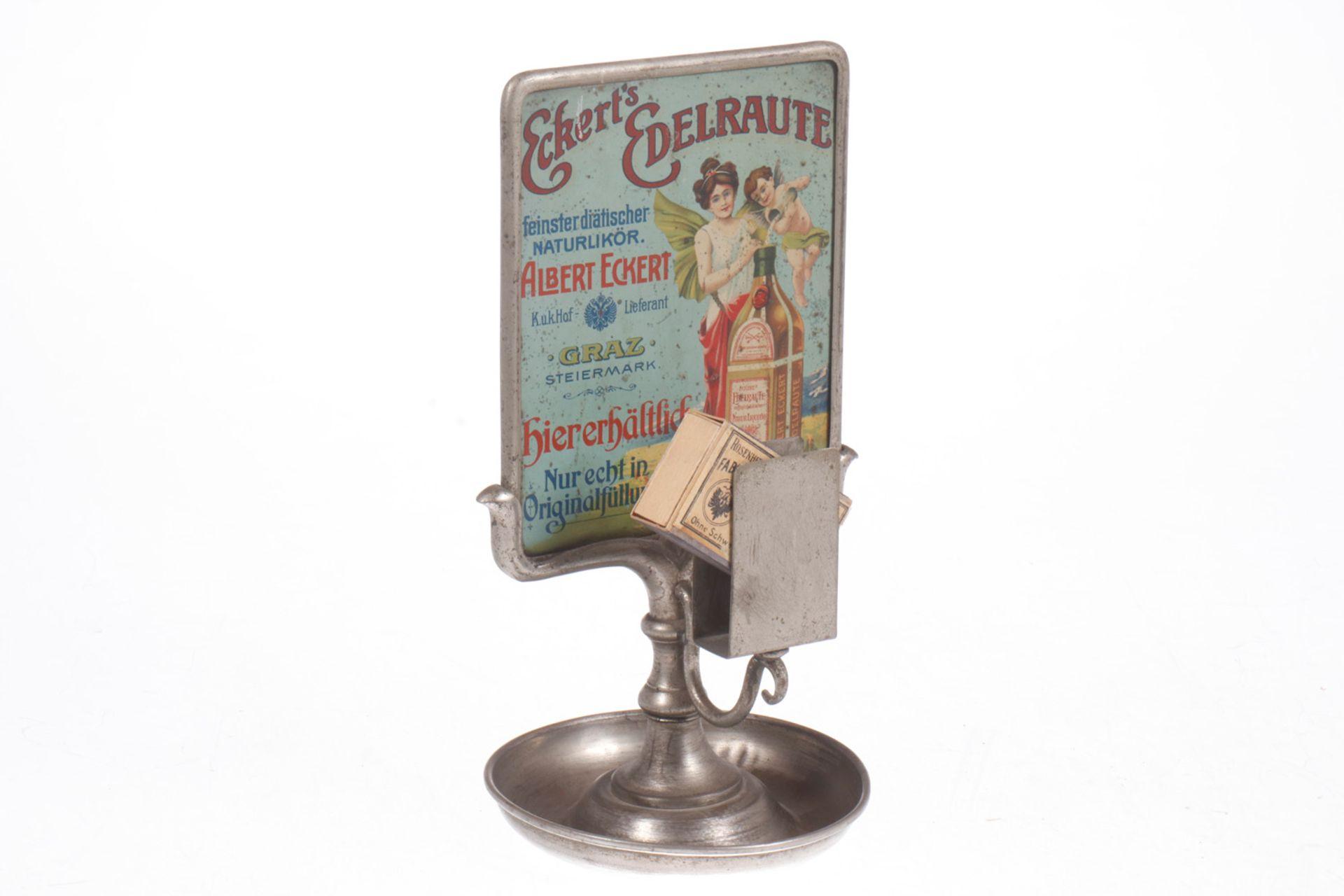 Werbeständer, um 1900, mit Aschenbecher und Streichholzhalter, Werbetafel mit lithographierter