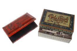 """2 Blechdosen, """"Permanent"""" Stempelkissen und """"Perfekt"""" Druckerei, mit Gummilettern, Länge 12 cm"""