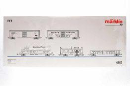 Märklin USA-Güterwagen-Set II 4863, S H0, NV und lose gefüllt, OK, sonst Z 1-2