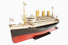 Märklin Ozean-Schnelldampfer 5050 D/9, um 1919, handlackiert, dampfbetrieben, mit 2 Schrauben und
