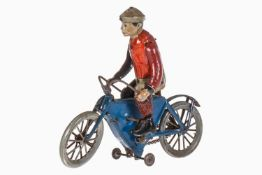 Fischer Fahrradfahrer, uralt, chromolithografiert, Uhrwerk mit Kettenantrieb intakt, 1 Arm