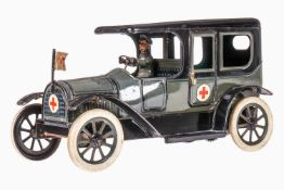 Bub Sanitätsauto, uralt, chromolithografiert, mit Fahrer, 2 Türen zum Öffnen und Rotkreuz-Fahne,