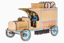Bing Lieferwagen, uralt, handlackiert, gummibereift, Lenkung verstellbar, Uhrwerk intakt, mit 2