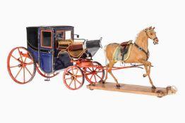 Märklin Pferd mit Blechkutsche, als Einspänner, uralt, handlackiert, Pferd Pappe mit
