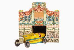 Cardini Fiat Rennwagen Nr. 14, chromolithografiert, Uhrwerk intakt, mit Original-Karton als Renn-