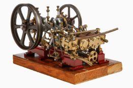2-Zylinder-Modell-Schiffsmotor, detailgetreue Ausführung, mit 2 feststehenden doppeltwirkenden