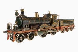 """Schoenner englische 2-B-Dampflok Nr. 196/2 """"735"""", Spur 3, mit 3A-""""SE & CR""""-Tender, um 1909, grün/"""