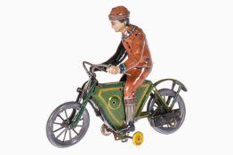 Fischer Motorrad mit Fahrer und Klingeleinrichtung, uralt, chromolithografiert, Uhrwerk hakt,