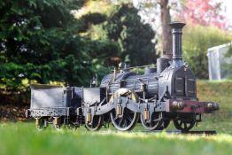 Schwere Echtdampf-Lok, Typ 111, um 1890, mit Versorgungstender, Spurweite 210 mm, schwere Eisen-/