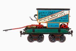 Märklin Möbel-Transportwagen 1877, auf offenem Güterwagen 1818, Spur 1, uralt, handlackiert, mit 2-