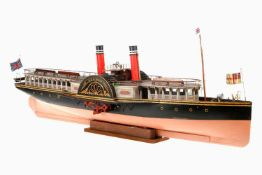 "Echtdampfmodell des Raddampfers ""Norman"", England, um 1920, feine Holz-/Metallausführung, mit"
