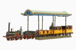 Märklin Adler-Zug AR 12930, S 0, elektr., Lok mit Motorklappe und Lokführer, Tender, offener