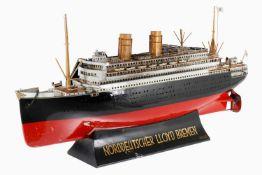 Märklin Reisebüro-Modell, Dampfschiff für Norddeutscher Lloyd Bremen, Doppelschrauben-Dampfer,