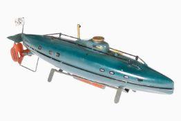 Märklin U-Boot, handlackiert, Uhrwerk intakt, kleine Dellen und kleine Lackschäden, Länge 28 cm, Z