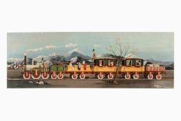 Jaques Milet, Holzplatte mit Ölgemälde von Märklin Adlerzug, signiert Jaques Milet 1965, bekannter