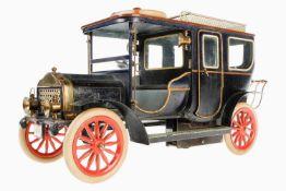 Märklin Automobil-Landaulet 5214/3, um 1909, blau handlackiert, mit Glasfenstern und vorderer