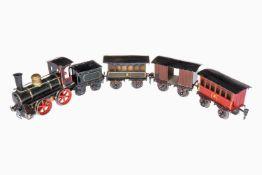 Rock & Graner Spur-1-Zug, uralt, handlackiert, B-Dampflok mit 2A-Tender, Uhrwerk intakt, nur