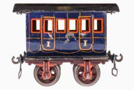 Märklin Coupé-Wagen 1806, Spur 1, uralt, handlackiert, mit Inneneinrichtung, 4 AT, 2 A Gussräder,