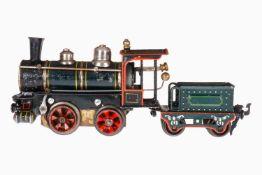 Märklin B-Dampflok 1020 R, mit 2A-Tender, Spur 0, uralt, handlackiert, 2 Galeriestangen, vorwärts