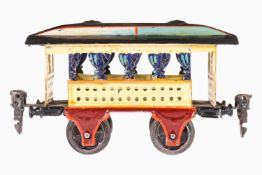 Märklin Sommerwagen 1825, Spur 0, uralt, handlackiert, mit Inneneinrichtung, blaue Vorhänge, Länge
