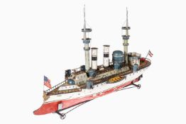 """Märklin Schlachtschiff """"Ohio"""" 1092, uralt, HL, Uhrwerk intakt, mit Original-Deckaufbauten, Beibooten"""