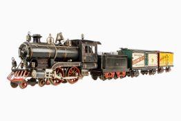 Märklin amerikanischer Bierzug, Spur 1, ab 1904, handlackiert, 2-B Spiritus-Dampflok AE 4021, mit