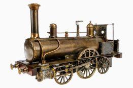 Radiguet 1-A-1 Echtdampflok, Typ 111, um 1890, Spurweite 90 mm, Messing-Ausführung, mit Armaturen