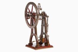 Radiguet Schiffsmaschine, um 1890, Guss, handlackiert, mit feststehendem Zylinder und Regler, Höhe