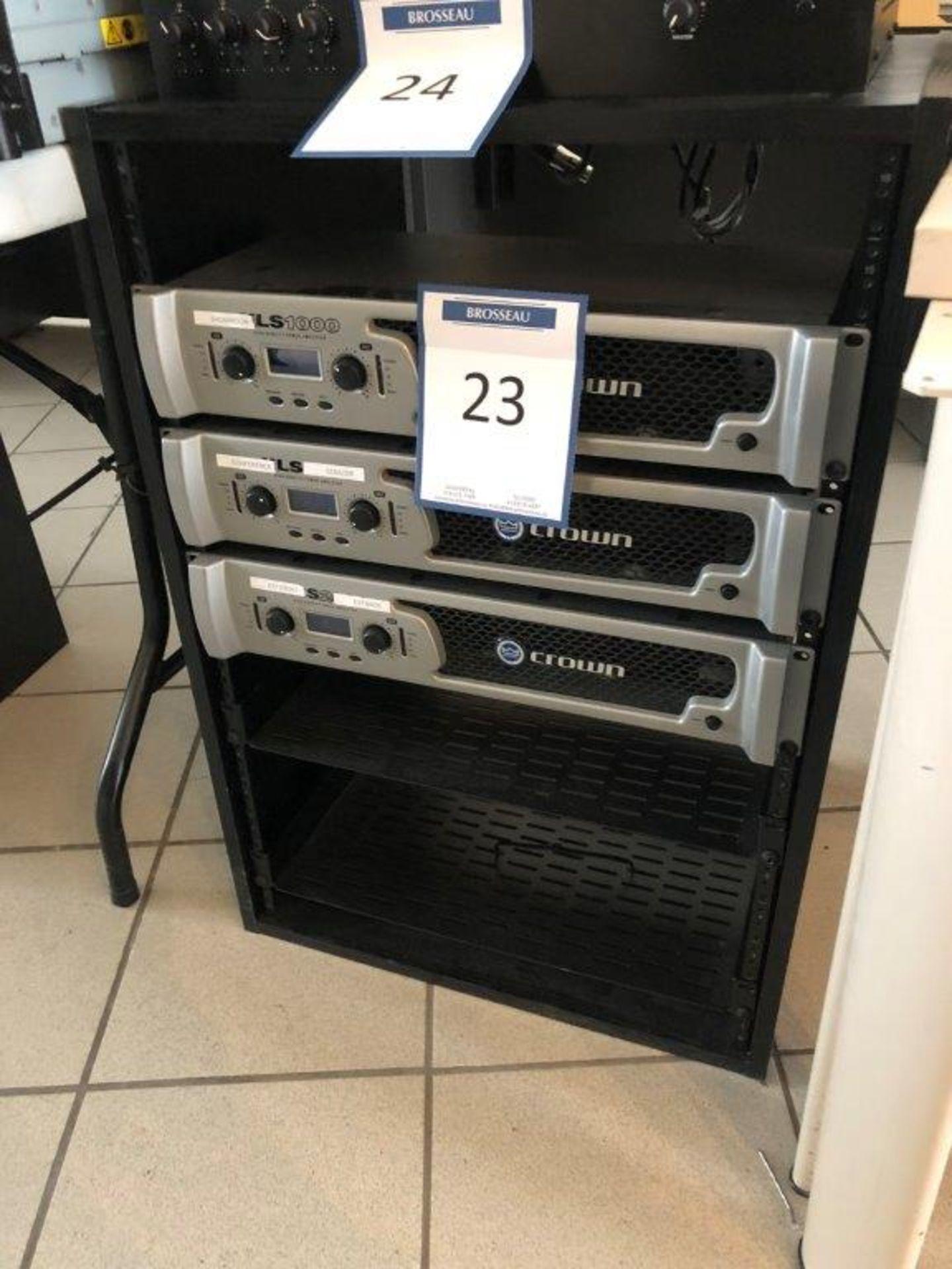 Lot 23 - Lot: 3 amplis CROWN mod. XLS-1000 et cabinet