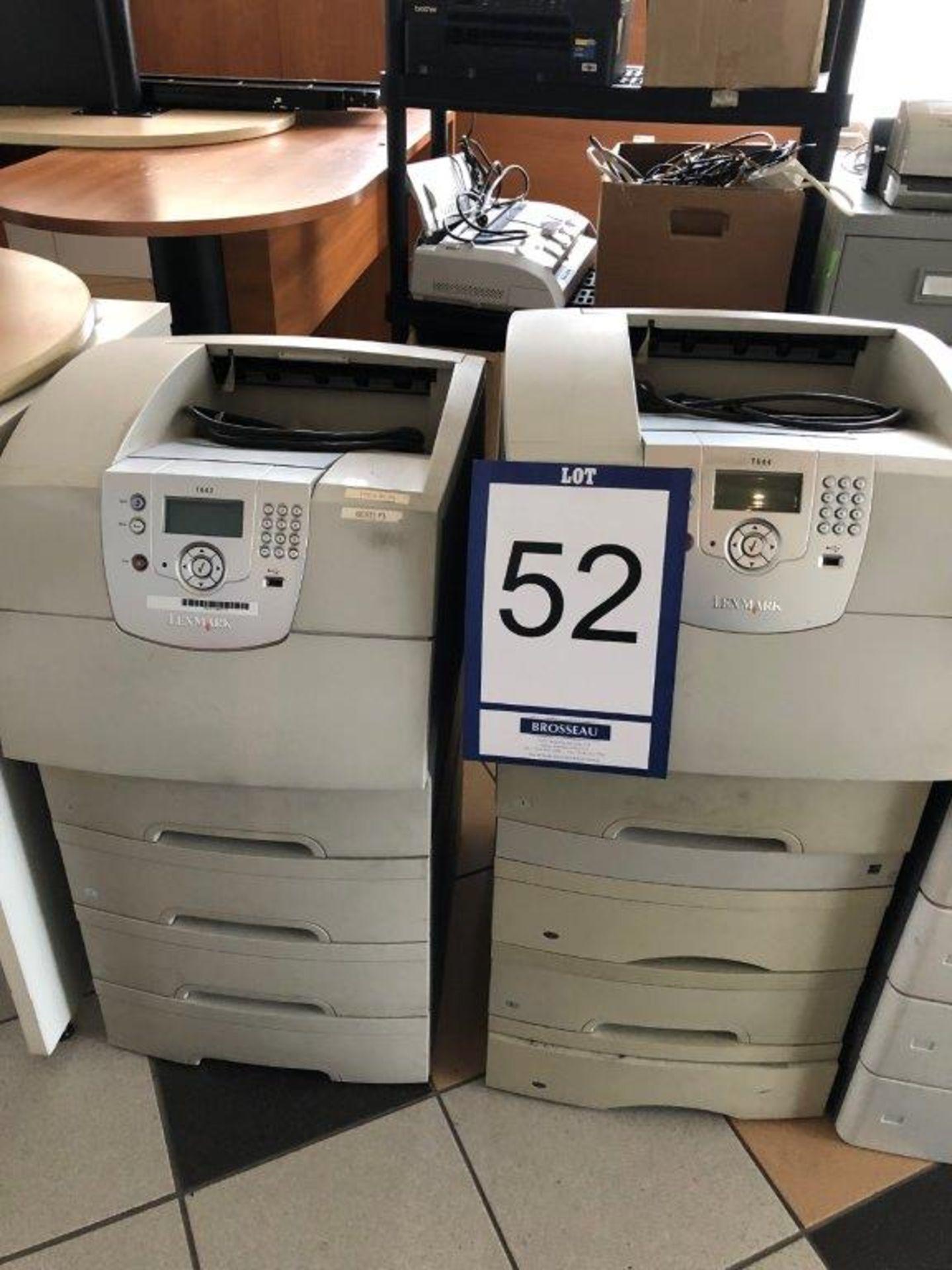 Lot 52 - Lot: 2 imprimantes LEXMARK Mod. T644 et T642
