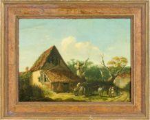 Englischer Landschaftsmaler (19. Jh.)Bauernkate u. PferdekarrenMit Reisig beladen, davor schäkerndes