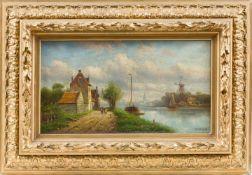 Glückert, Johannes (1868- ca. 1921)Holländische Landschaft bei DoordrechtLwd. Ca. 27×49 cm. R.(