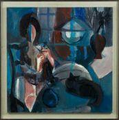 Breu, Toni J. (Schweiz, 1932-2017)Frau mit Strickzeug und KatzeSign. Lwd. Ca. 60×60 cm. R.(50524)