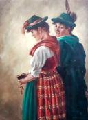 Brückner, Curt (geb. 1896)Zwei Kirchgängerinnen in bayerischer TrachtSign. Öl auf Hartfaserplatte.