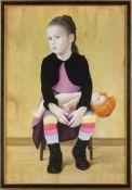 Berela, Vasili (Georgien, geb. 1986)Mädchen mit rothaariger Puppeauf Stuhl sitzend. Lwd. Ca. 110×